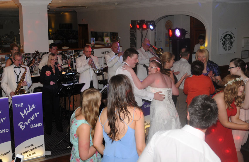 The Mike Brown Band playing at a wedding